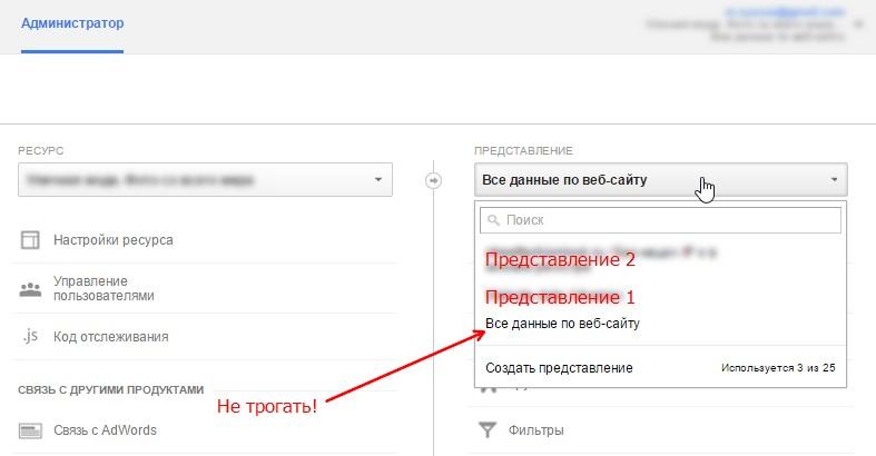 Выбор представления в Google Analytics
