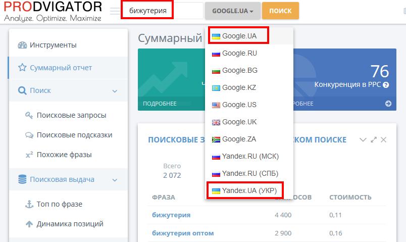 Подберем семантику на примере тематики «бижутерия» для таргетинга на Украину