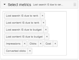 В результате поле Select metrics у вас будет выглядеть так же, как на рисунке ниже