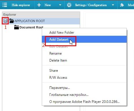 Левым кликом мыши раскрываем список «APPLICATION ROOT», потом правым кликом жмем на папку «Document Root» и в выпадающем меню выбираем команду «Add Dataset»