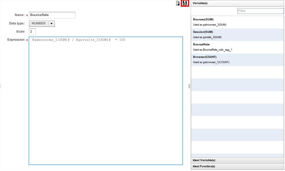 После нажатия кнопки с изображением дискеты в левой части диалогового окна «Manage Calculated Aggregate Value Columns» появится созданное вычисляемое поле