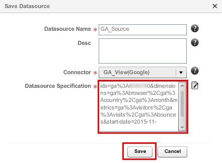 После возвращения в окно «Save DataSource» видим сгенерированный текст нашего запроса в поле «DataSource Specification»