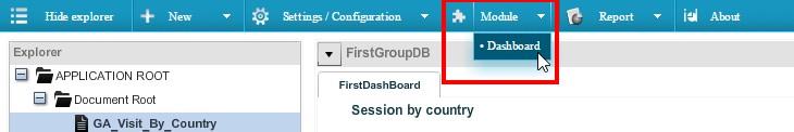 Посмотрим на созданный ранее дашборд — выбираем пункт «DashBoard» в меню «Module»