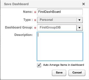 В диалоговом окне «SaveDashBoard» задаем имя дашборда