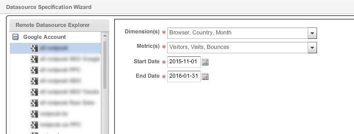 В открывшемся окне «Data Source Specification Wizard» выбираем нужное представление, параметры и показатели