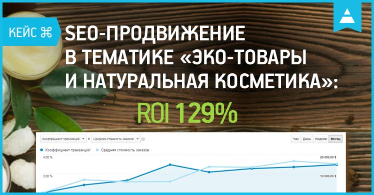 Кейс по SEO-продвижению сайта в тематике «эко-товары и натуральная косметика»: ROI 129%