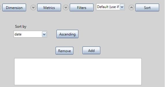 Настройка сортировки данных возвращенным запросом осуществляется при нажатии кнопки Sort