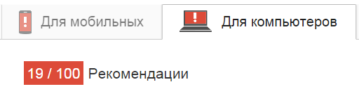 Изначальные показатели скорости загрузки сайта