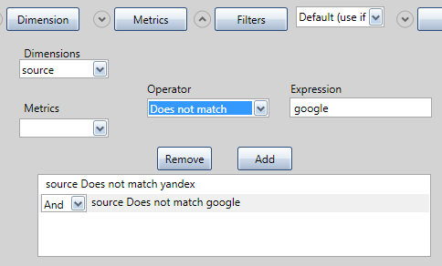 Установка необходимых фильтров осуществляется при нажатии кнопки Filters