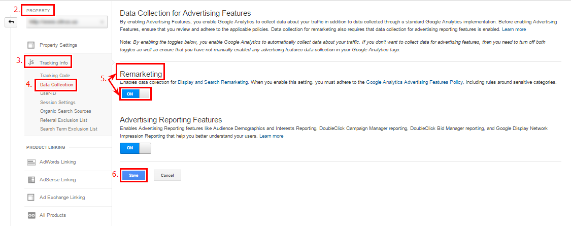 Switch on the remarketing function and Save changes in Google Analytics account