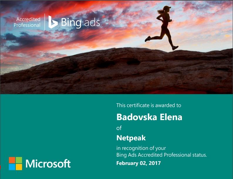 Елена Eagle — Bing Ads