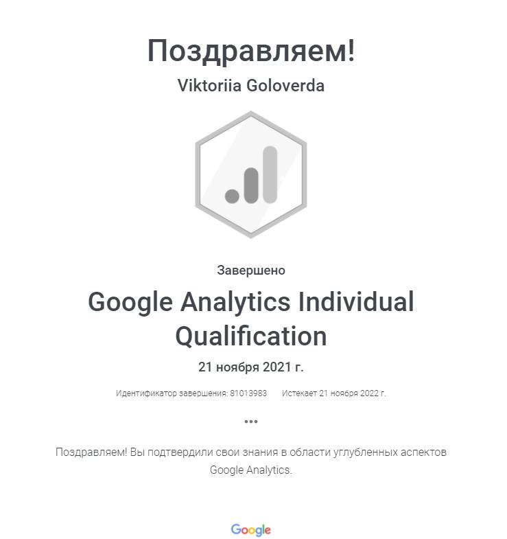 Виктория Leia — Google Analytics
