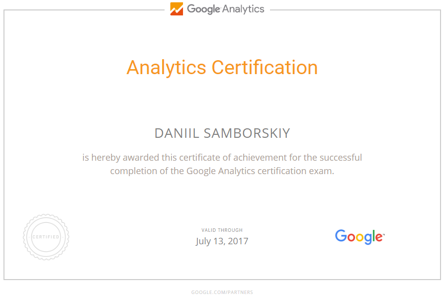 Даниил medveds — Google Analytics