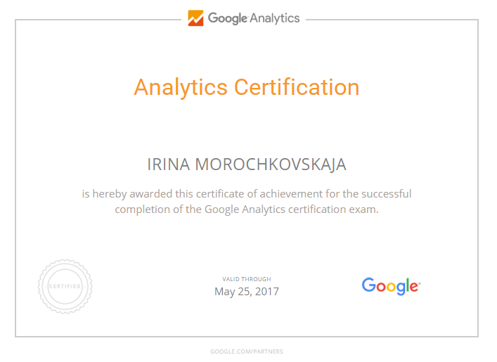 Ирина Murka — Google Analytics