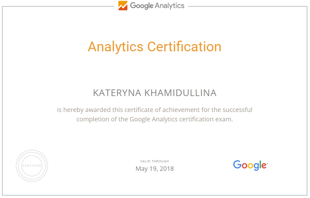 Екатерина Radistka — Google Analytics