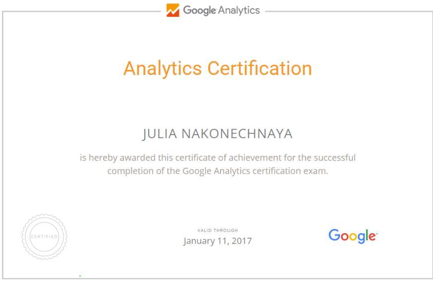 Юлия yupi — Google Analytics
