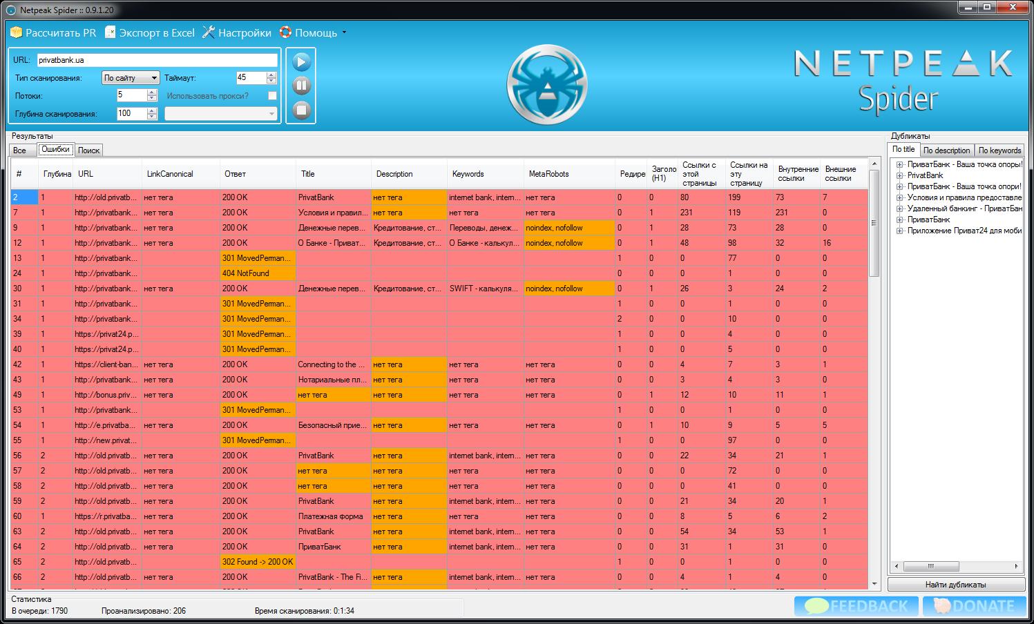 Netpeak Spider: ошибки, обнаруженные при сканировании сайта