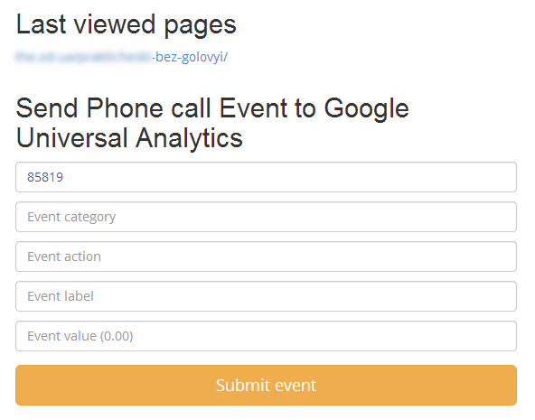 Send Phone call to Google Universal Analytics