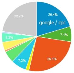 Доля дохода по рекламным кампаниям Google Ads в общем доходе сайта