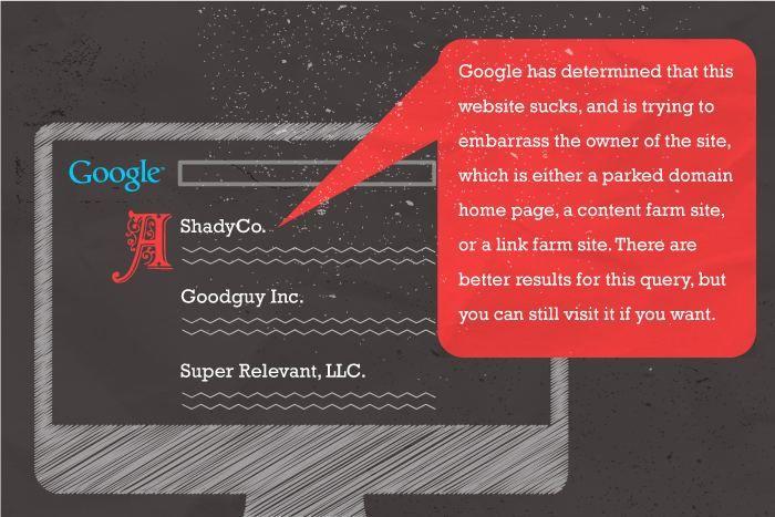 У многих бизнес может рухнуть только из-за того, что сайт висит в топе вместе с предупреждением о его «низкокачественном контенте».  Иллюстрация Девина Холмса (@DevinGoFish)