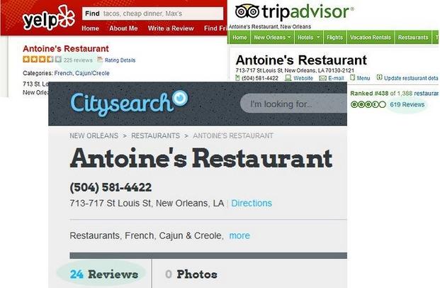 Отзывы у ресторана Antoine's из Нового Орлеана на различных сайтах