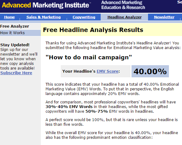 Разработка Advanced Marketing Institute для определения эмоциональной привлекательности заголовка
