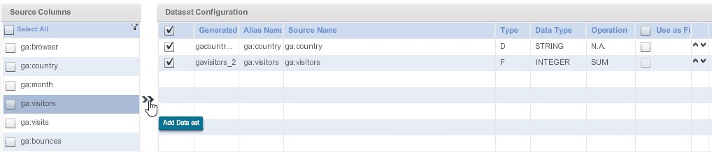 Далее будем работать с областями «Source Colums» и «DataSet Configuration»