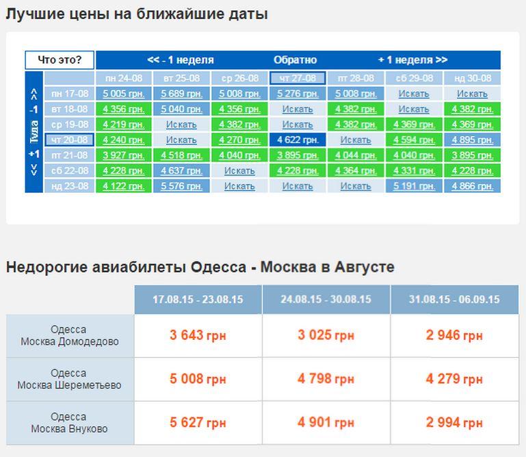 BravoAvia сразу отправляет на страницу заказа билета Одесса-Москва, подставляет дату туда и обратно, а также проводит анализ цен