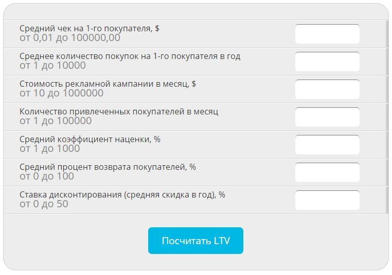 LTV-калькулятор на сайте Netpeak