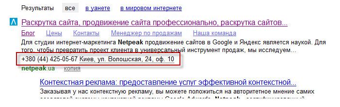 контактная информация организации в поисковой выдаче