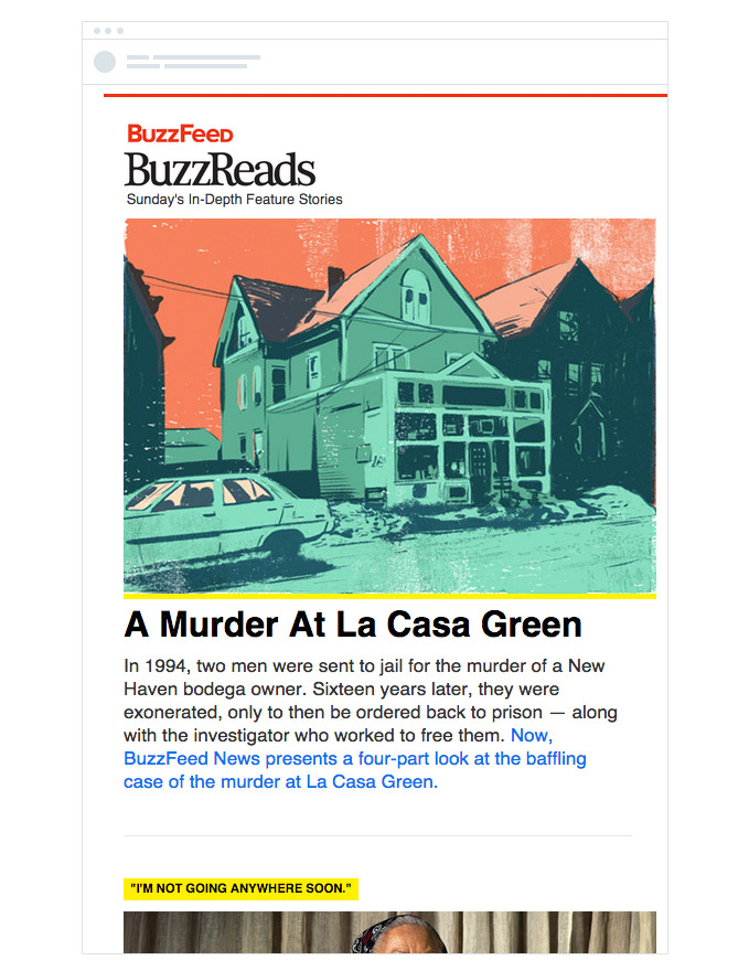 Для воскресного дайджеста BuzzFeed использует шаблон с большими абзацами текста.