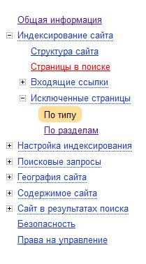 Яндекс.Вебмастер Исключенные страницы