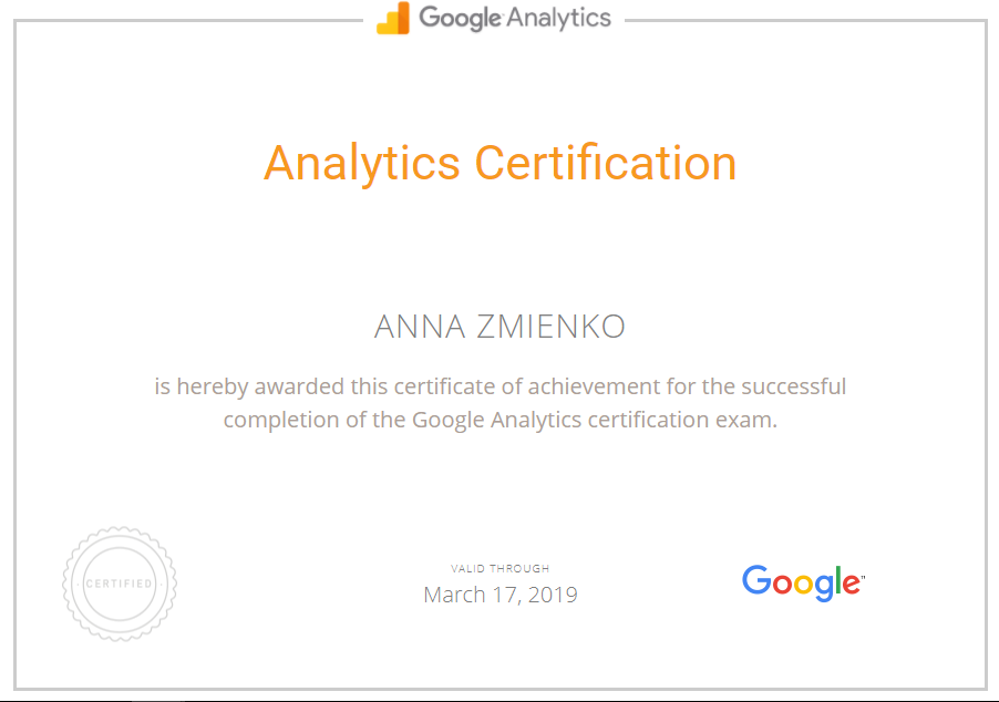 Анна anita — Google Analytics