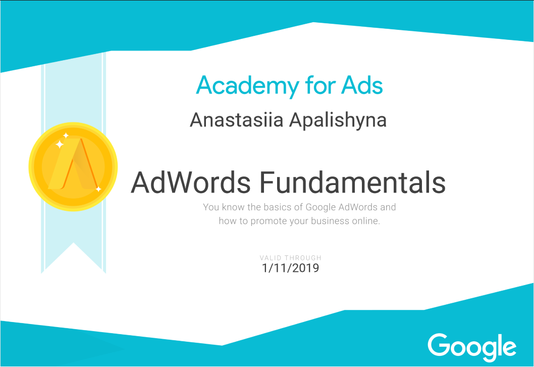 Anastasiia appa – Google AdWords
