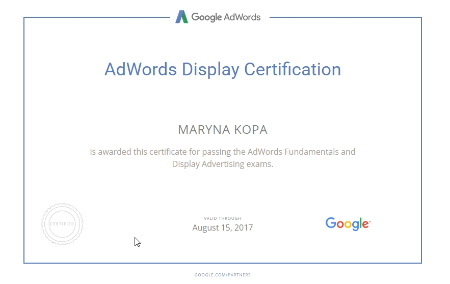 Marina Brook – Google AdWords