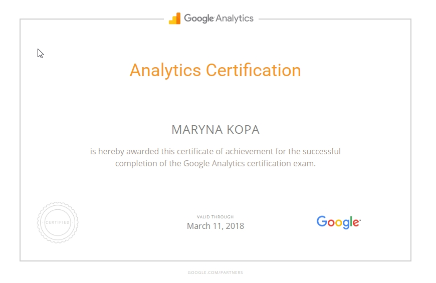 Marina Brook – Google Analytics