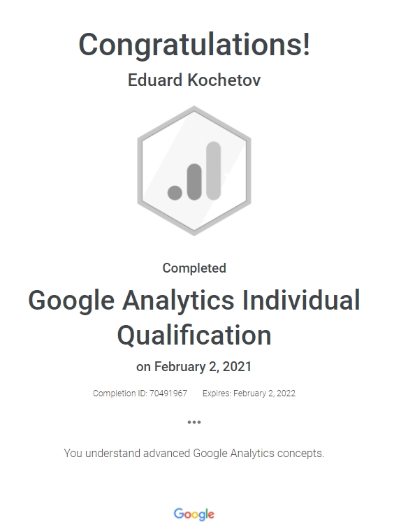 Эдуард Edmar — Google Analytics