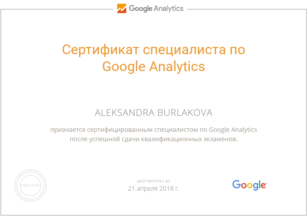 Александра Fenix — Google Analytics