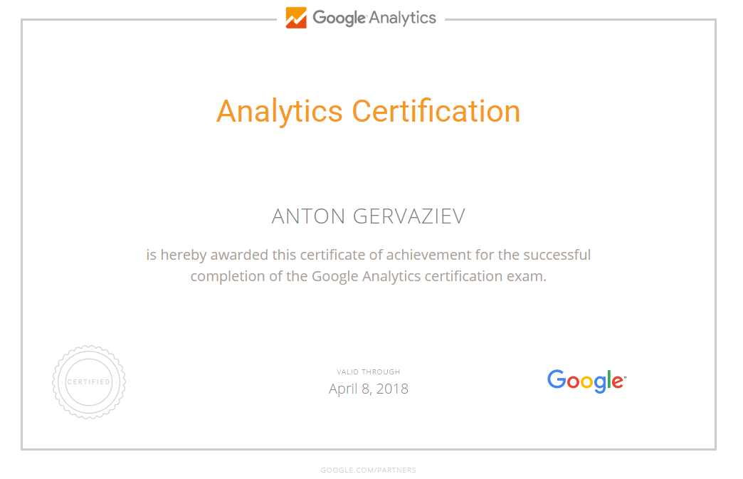 Anton gervaziev – Google Analytics