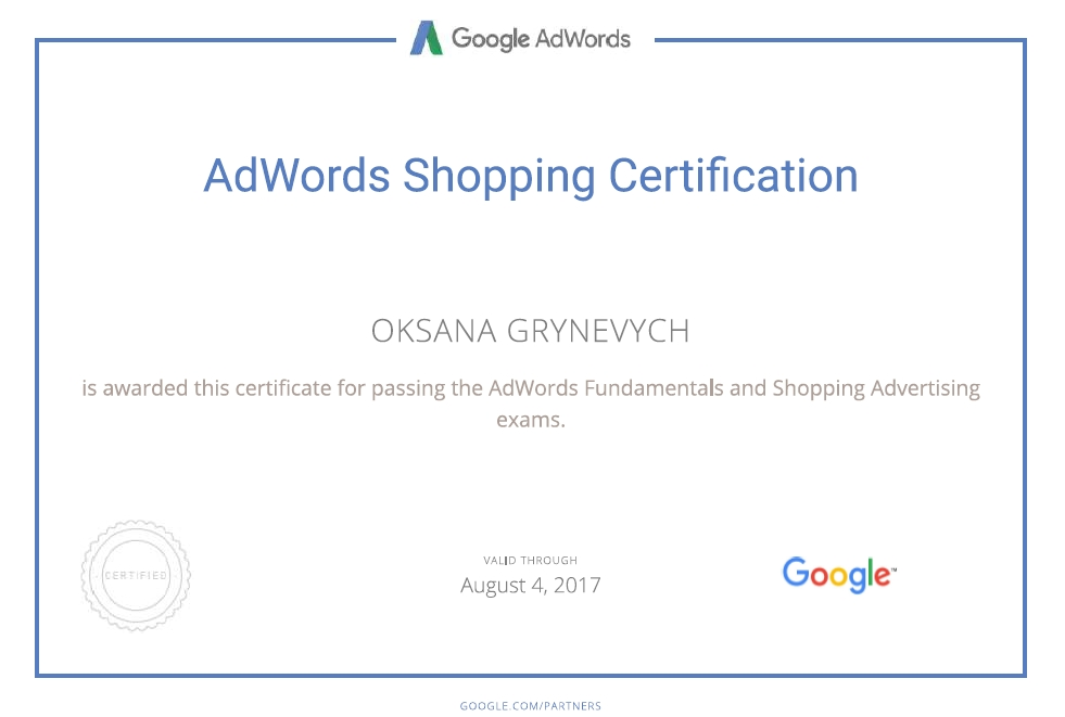 Oksana greenwitch – Google AdWords