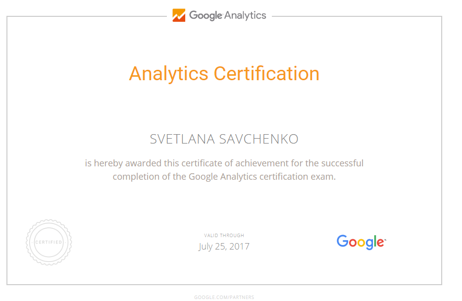 Светлана krasavchenko — Google Analytics
