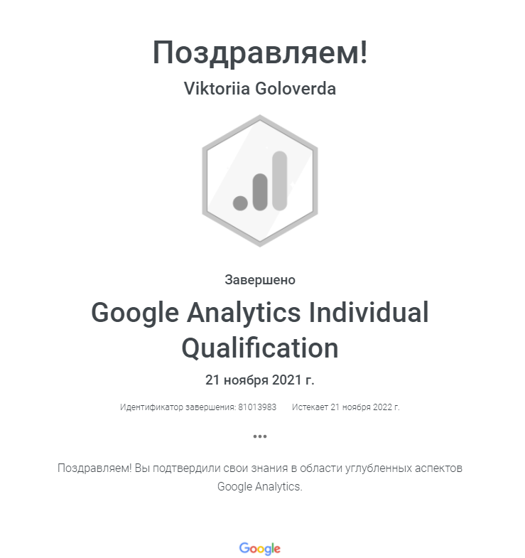 Виктория Leia — Google Analytics