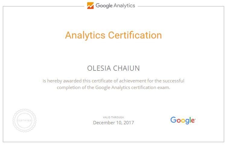 Олеся Mew — Google Analytics