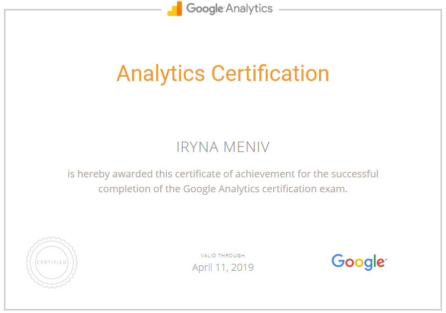Ирина Mint — Google Analytics