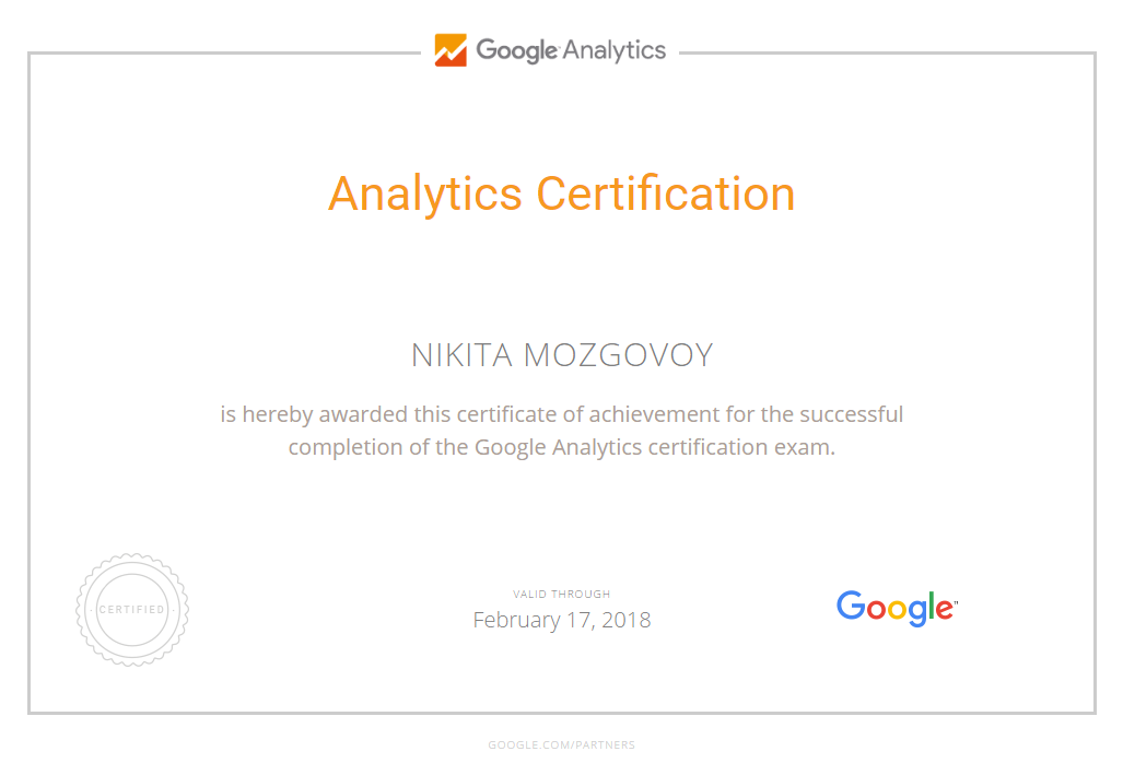 Nikita mozg – Google Analytics