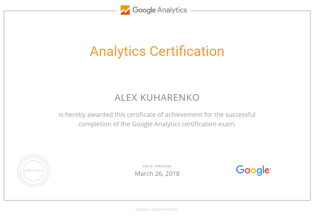 Александр mraleks — Google Analytics