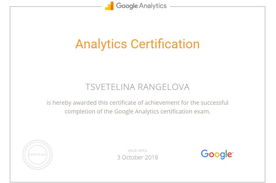 Tsvetelina Ranger – Google Analytics